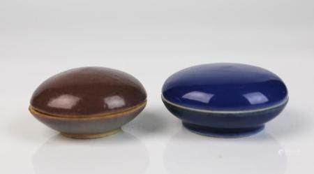 A Chinese Peachbloom Glazed Porcelain Covered Box & a Blue G