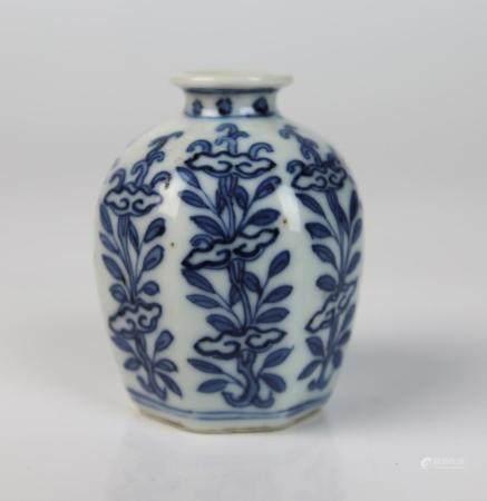 A Chinese Blue & White Hexagonal Vase,