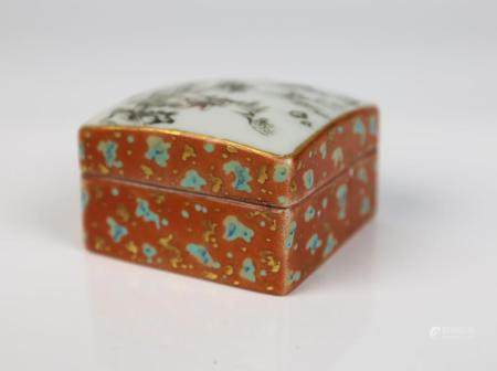 A Chinese Faux Bois Glazed Grisaille Porcelain Covered Box,