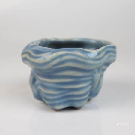 A Chinese Sky Blue Glazed Porcelain Washer, Qianlong Mark to