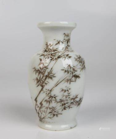 A Chinese Famille Rose Vase Painted with Bamboo, Seal Mark o