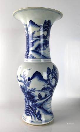 A Chinese Blue & White Gu Vase,