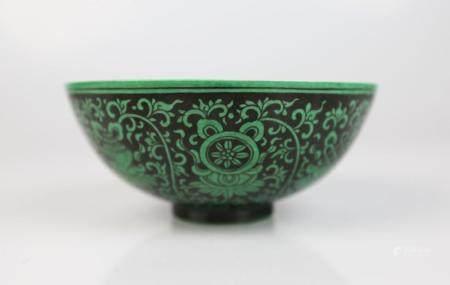 A Chinese Green Glaze Black Ground Bowl,