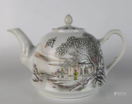 A Chinese Famille Rose Landscape Teapot, Signature of Yu Wen