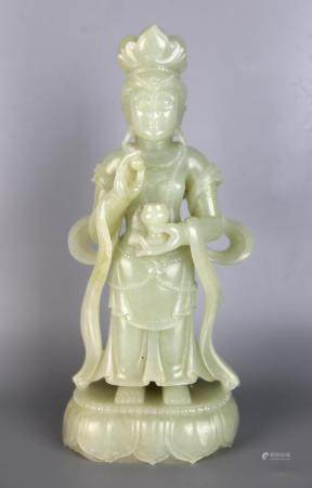 A Chinese Greenish White Jade Carving of Guanyin,
