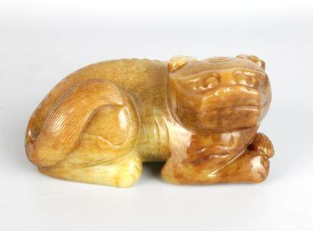 A Chinese Yellow Jade Mythical Beast,