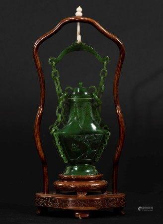 A jade vase, China, 20th century