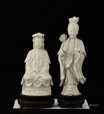 Two porcelain Guanyins, China, early 1900s
