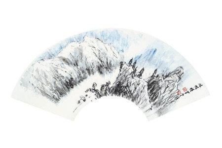 李強  峨眉積雪 扇面
