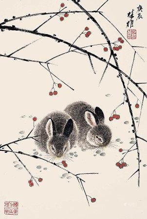 方楚雄  雙兔紅果圖
