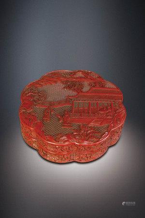 清   剔紅樓閣人物紋蓋盒