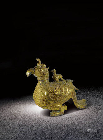 戰國   銅鎏金神鳥尊