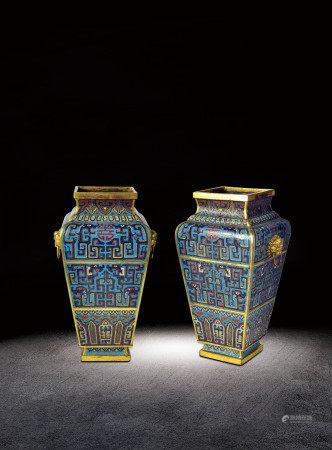 清   銅鎏金琺瑯雙獸耳方瓶一對