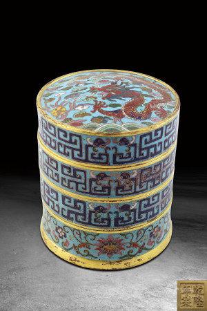 清   銅胎琺瑯鎏金多寶盒