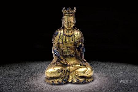 清   銅鎏金觀音坐像