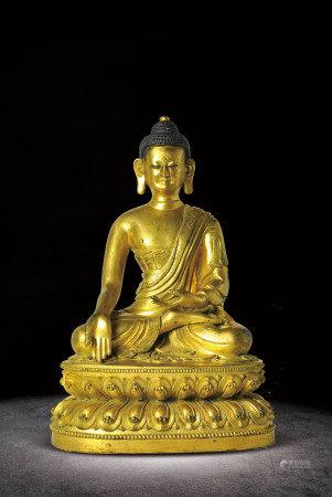 清   銅鎏金釋迦牟尼佛坐像