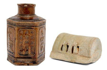 A Chinese pottery burial figure of a chicken coup and a treacle glazed hexagonal tea cannister,