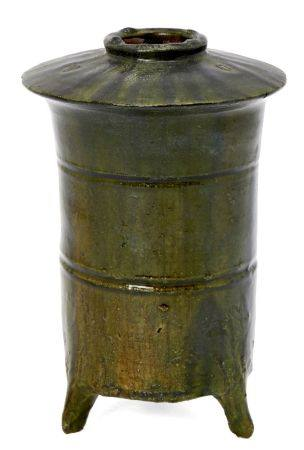 A Chinese terracotta green glazed granary jar, Han dynasty, the cylindrical body incised with two