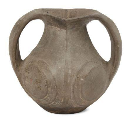 A Chinese Sichuan pottery amphora, Han dynasty, with everted rim and two strap handles, each side