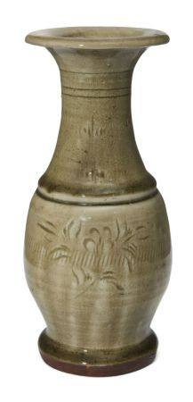 A Chinese grey stoneware Longquan celadon vase, Ming dynasty, incised with floral sprays, 19.5cm