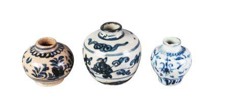 Three Chinese porcelain jarlets, Ming dynasty, 16th-17th century, each painted in underglaze blue