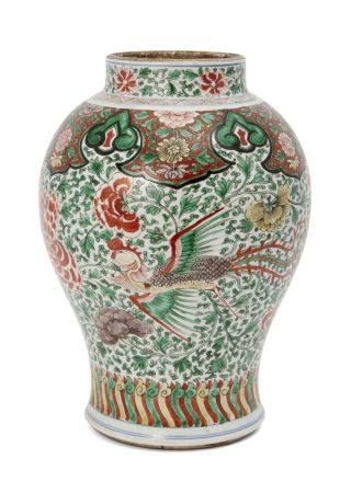 A Chinese porcelain famille verte 'phoenix' jar, Kangxi period, decorated to the body with two