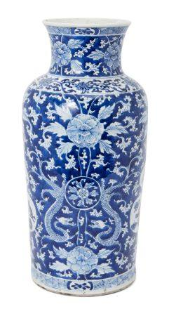 A large Chinese porcelain vase, early 18th century, with flared rim above tapering body, painted