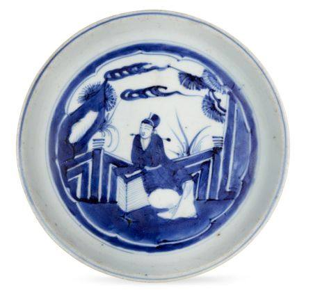A Chinese porcelain dish, 17th century, with a slightly everted rim and straight footrim, painted in