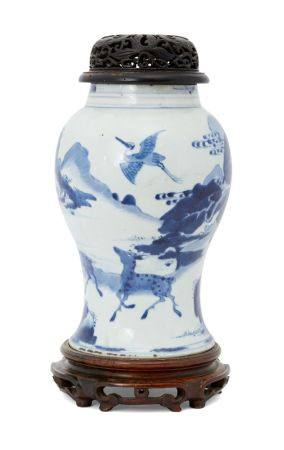 A Chinese porcelain yen yen vase, Kangxi period, painted in underglaze blue with two deer and two
