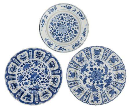 Three Chinese porcelain plates, Kangxi and 18th century, comprising two similar painted in