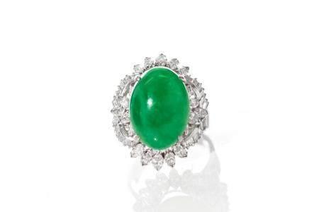 CHINESE JADEITE AND DIAMOND RING