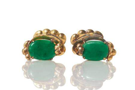 ANTIQUE CHINESE JADEITE AND GOLD EARRINGS