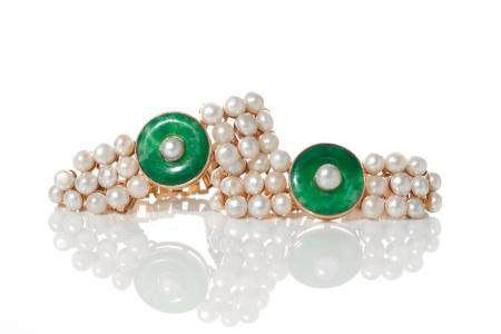 TWO CHINESE JADEITE & PEARL BRACELETS