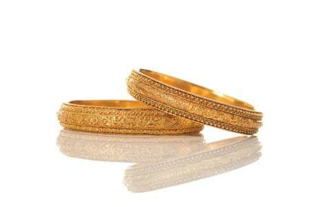 TWO CHINESE  ANTIQUE GOLD WEDDING BANGLE BRACELETS