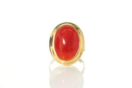 CHINESE AKA RED CORAL CABOCHON RING