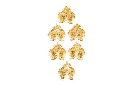SIX CHINESE GOLD DOUBLE PEACH PENDANTS