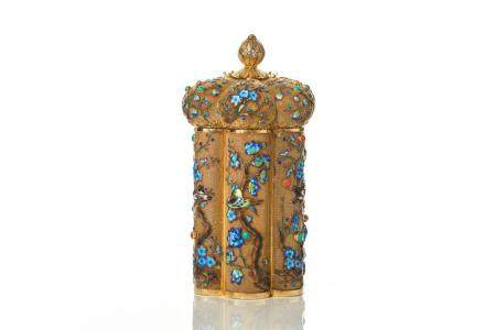 CHINESE EXPORT SILVER FILIGREE TEA CADDY