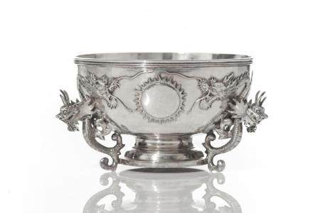 CHINESE EXPORT SILVER BOWL WITH DRAGON HANDLES