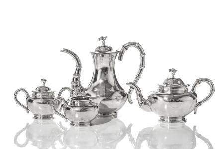 CHINESE EXPORT SILVER FOUR-PIECE COFFEE & TEA SET