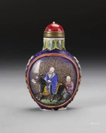 Chinese Enameled Overlay Glass Snuff Bottle
