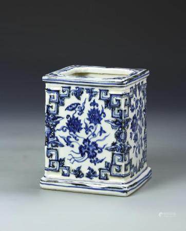 Chinese Blue and White Square Brushpot