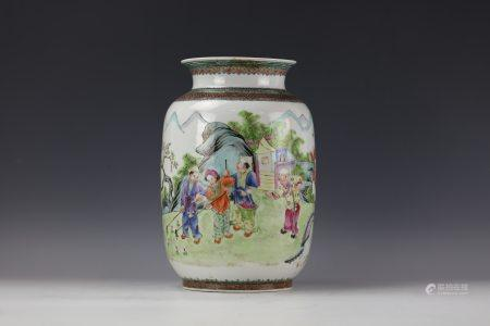 A Chinese Famille Rose Figure-stored Porcelain Vase