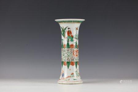 A Chinese Wucai Figural Porcelain Vase