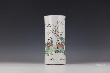 Fuxingchang Famille Rose Figural Porcelain Hat Stand