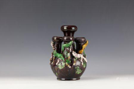 A Unique Shaped Brown Glazed Animal Vase with Kangxi Mark
