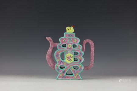 A Shou Character Shaped Famille Rose Porcelain Teapot