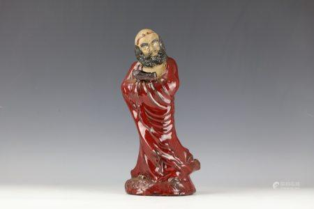 SHIWAN STATUE OF DAMO W/ RED GLAZE