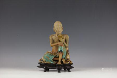 SHIWAN STATUE OF LUOHAN with Wood Base
