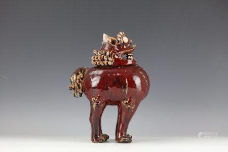 A QiLin Dragon Shaped Chinese Shiwan Ceramic Incense Burner