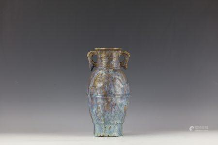 CHINESE SHIWAN FLAMBE GLAZE Vase with Double Handle
